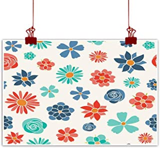 Mannwarehouse Living Room Decorative Painting Floral Wrapping Paper with Cute Hand Drawn Flowers Spring Background Vector Modern Minimalist Atmosphere 32