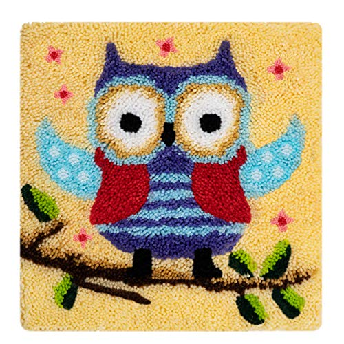 Cushion Latch Hook Kit Rug Crochet Kits for Home Decor, Owl, 45 X 45 cm (ZD-105)