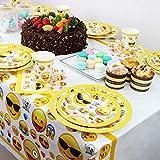 Kompanion 81-teiliges Party-Set Emoji Kindergeburtstag Partydekoration - Pappteller, Tassen, Servietten, Tischdecke und Bonus Emoji Aufkleber, Geburtstagsfeier Zubehör für 20 Kinder - 3