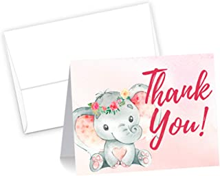 50 Pink Watercolor Girl Elephant Cute Baby Shower Thank You Cards, Double Sided Blank Inside with Envelopes- Made in the USA