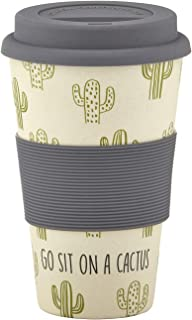 SB Design Studio D4406 Sips Bamboo Fiber Travel Mug with Silicone Grip and Lid, 13-Ounce, Go Sit On A Cactus