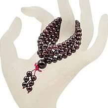 AD Beads Natural Gemstones Buddhist 108 Prayer Healing Beads Mala Stretchy Bracelet Necklace 6mm (Red Garnet)