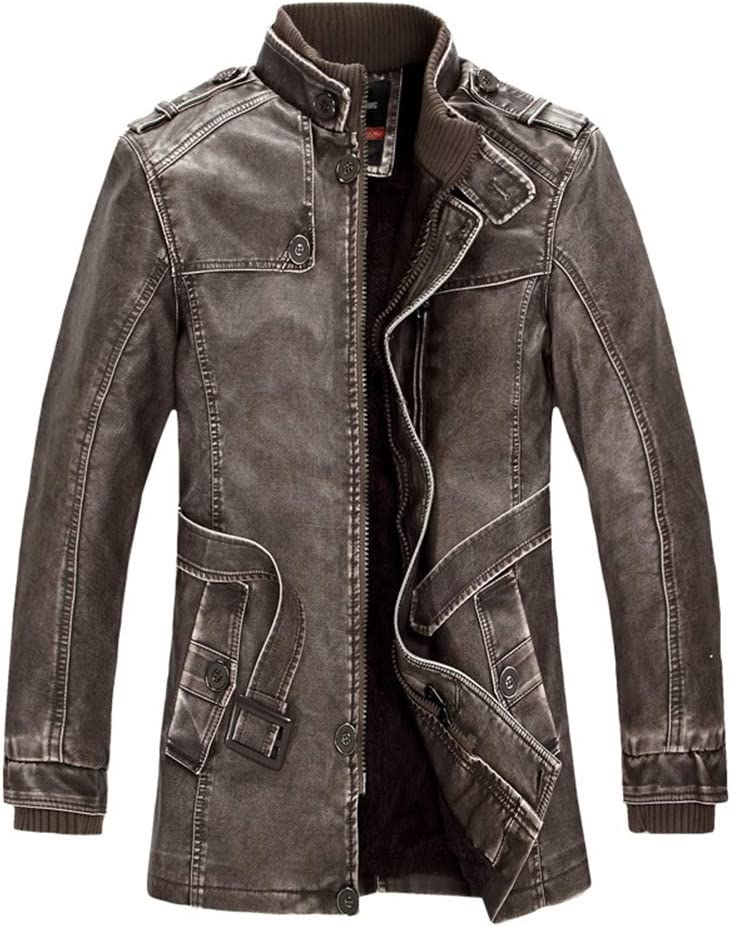 Hzikk Men's PU Jacket Motorcycle Coats Thick Fleece Warm Outerwear Slim Fit Leather Coat,Brown,XXL