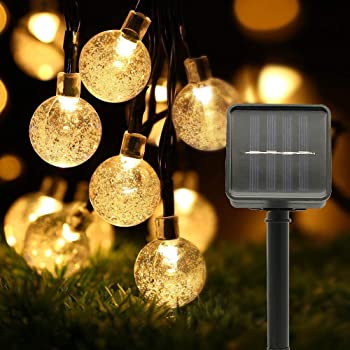 Cadena Luces Solares, Uplayteck Luces LED Decorativas 22ft LED Luces Exteriores Impermeable, Guirnalda Luces para Decorar Patio, Jardín, Terraza, Boda, Fiesta, Navidad