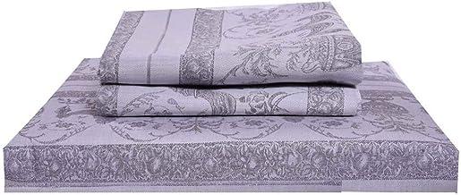 ملاءة سرير مسطحة مع اغطية وسائد من قطن دمشقي 100% 300 خيط من جاست لينين Queen JB015552Q