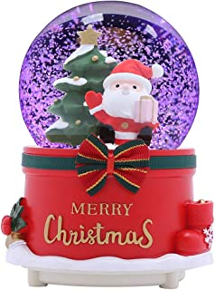 XXMANX 100 MM Christmas Snow Globe with 8 Music and 4 Color Lights Music Box Home Decoration for Girls Boys Kids Granddaughters Babies Birthday Gift, Musical, Resin/Glass (Automatic Snow Drift)