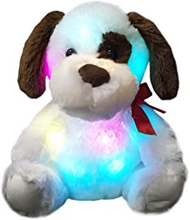 WEWILL Glow Puppy Stuffed Animal Dog Plush Toy LED Nightlight Companion Gift for Kids on Birthday Christmas Halloween Festivals,12-Inch