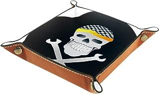 Plateau à bijoux Crâne blanc Plateau de rangement pour bijoux en cuir Petite boîte de rangement Organisateur de désordre 2...