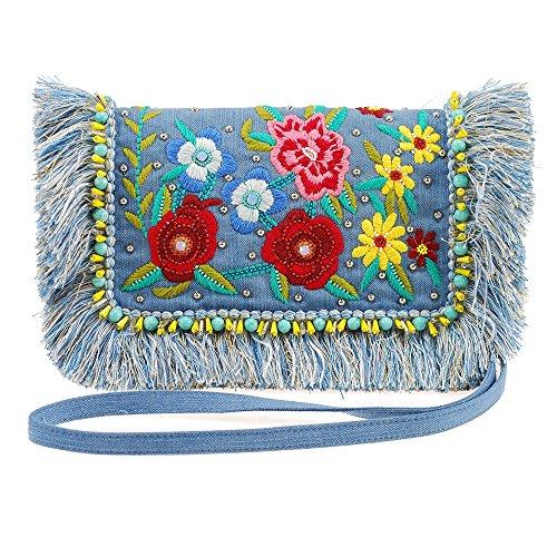 Mary Frances On The Fringe Handtasche aus Jeansstoff, bestickt, Blau