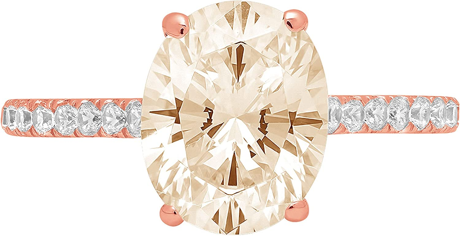 1.83ct Brilliant Oval Cut Solitaire with accent Designer Genuine Natural Morganite Gemstone Ideal VVS1 Engagement Promise Statement Anniversary Bridal Wedding ring Solid 14k Pink Rose Gold