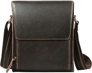 Leathario Men's Shoulder Cross Body Messenger School Office IPad Bags Casual Retro Leather Ipad Bag Red-Brown (Brown2)