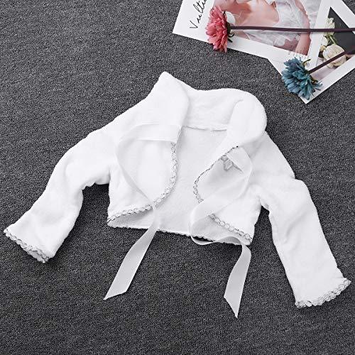 TiaoBug Kids Girls Faux Fur Jacket Coat Flower Girls Bolero Shrug Pompom Cape Wedding Bridesmaid Tippet Wrap White 2-3 Years