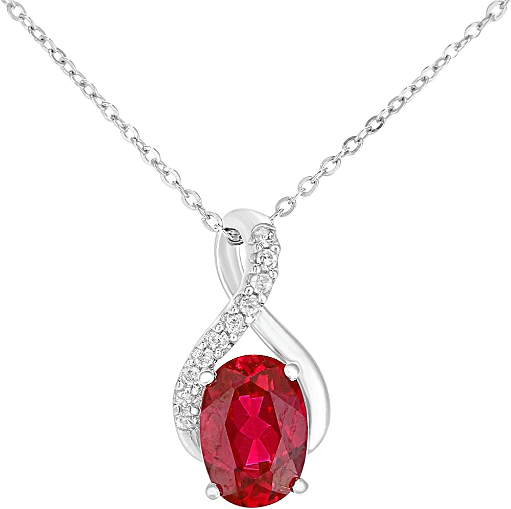 Naava - collana per donna in oro bianco 9 kt/375(1,2 gr), con pendente ovale in rubino e diamante PP05930WCRU