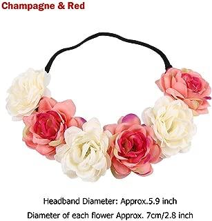MOPOLIS Rose Flower Garland Bridal Headwear Wedding Hairband Elastic Wreath Headband   Size - Champagne Red