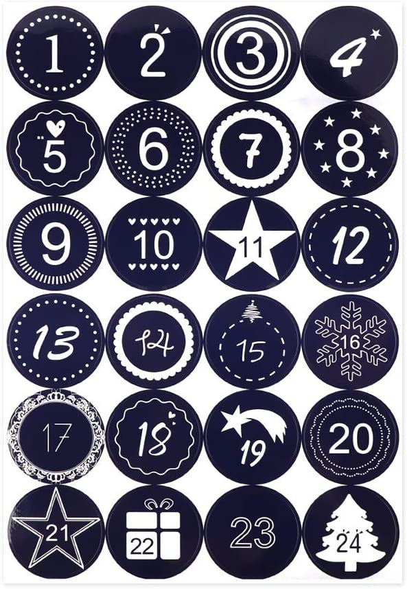 1 Advent Calendar Number Paper Stickers Multi-Function DIY Gift Packaging Labels Decor Merry Christmas Gift Stickers