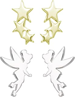 Disney Tinkerbell Earrings, 2 Pairs Stud Earring Set, Sterling Silver Fairy and Stars, Official Licensed Jewelry for Women...
