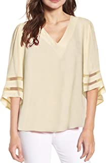 Shy Velvet Women's V Neck 3/4 Bell Sleeve Chiffon Blouse Mesh Panel Loose Top Shirts