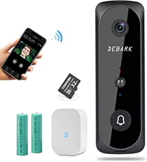 DEBARK Smart Video Doorbell Wireless Home WiFi Security Camera, 1080P HD Audio Doorbell Cloud Storage Security Camera with PIR Motion Detection Night Vision Two-Way Talk Real-time Video, Black