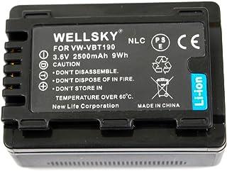 [WELLSKY] Panasonic パナソニック VW-VBT190 VW-VBT190-K 2500mAh 互換バッテリー [ 純正充電器で充電可能 残量表示可能 純正品と同じよう使用可能 ] HC-V210M HC-V230M HC-V330M HC-V360M HC-V480M HC-V520M HC-V550M HC-V620M HC-V720M HC-V750M HC-VX980M HC-W570M HC-W580M HC-W850M HC-W870M HC-WX970M HC-W585M HC-WX990M HC-WXF990M HC-WX995M HC-VX985M HC-WX1M HC-WZX1M HC-VX1M HC-VZX1M HC-WXF1M HC-WZXF1M HC-VX990M HC-VZX990M HC-VX992M HC-VZX992M HC-WX2M HC-WZX2M HC-VX2M HC-VZX2M