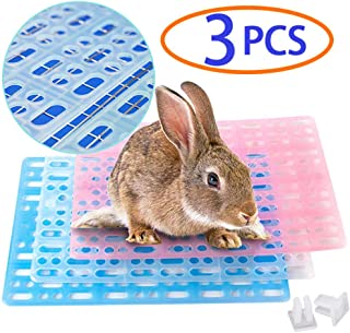 Rabbit Cage Summer Cool Mat,Bunny Cage Accessories,Hole Design Water Leak Plastic Feet Pad,Dutch Pig Floor Mats for Guinea Pigs, Work Most Fine for Smaller Breeds,3Pcs