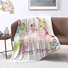 Mademai Kids Birthday Plush Blanket Baby Girl Birthday with Teddy Bears Toys Balloons Surprise Boxes Dolls Image Home Room Bedroom Blanket 80