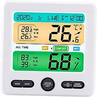 Baoblaze Trådlös inomhus utomhus med sensor digital termometer hygrometer monitor med väckarklocka, lätt att läsa och anvä...