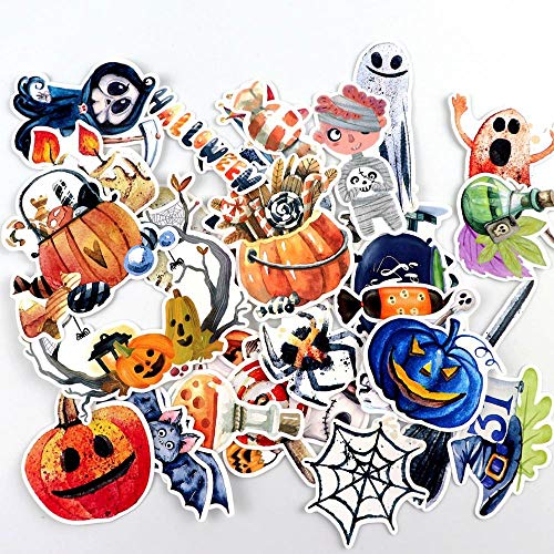 WOCAO Hand Drawing Watercolor Halloween Eve Decoration Notebook Planner Scrapbooking, Diy Paper Sticker 33 Pcs