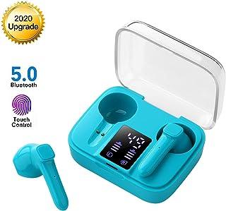 Auriculares Inalámbricos Bluetooth 5.0, Mini Auriculares Bluetooth Sin Cable Sport Cascos con Estuche de Carga de micrófono Sonido Estéreo LED Pantalla/para TV Smartphone Tablets-Azul