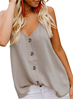 Women's Casual Spaghetti Strap Button Front Tie Front V Neck Sleeveless Blouses Tank Tops