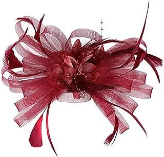 〓COOlCCI〓 Netting Feathers Big Flower Headband Party Girls Women Fascinator Headwear Cocktail Hat Head Decoration