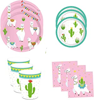 LJCL Llama Cactus Birthday Party Supplies,Disposable Alpaca Themed Tableware Set- Serves 8,Including Dinner Dessert Plates,Napkins,Cups