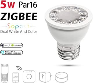 FANZHOU ZigBee Smart Bulb WiFi Spot Light Bulbs E27/E26 Smart Light Bulbs 5W Compatible with Alexa and Google Home Dual White Colour Changing Light Controlled by Smart Devices