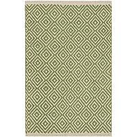 Comercio justo Diamond tejido 100% algodón Handloom alfombra con acabado cosido borde 60x 90cm, tela, salvia, 60 x 90