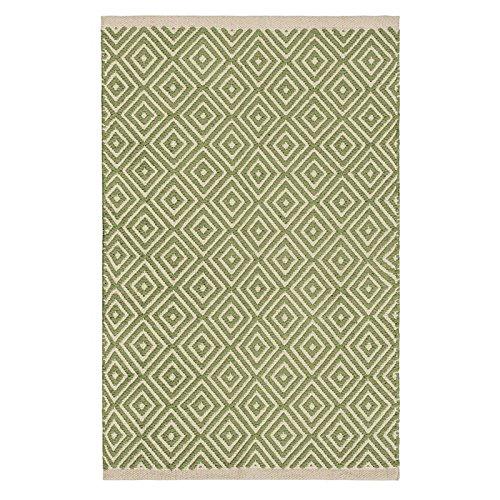 The Indian Arts Commercio Equo e Solidale Diamond Weave 100% Cotone Handloom Tappeto con Cucita finito Bordo 60x 90cm, Tessuto, Sage, 60 x 90