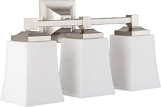 Brighton 3 Light Bathroom Vanity Brushed Nickel w/ Frosted Glass Linea di Liara LL-WL240-3-BN
