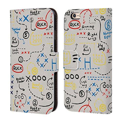 Head Case Designs Official England Rugby Union Juego más Antiguo Niños Carcasa de Cuero Tipo Libro Compatible con Apple iPhone 6 / iPhone 6s