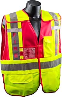 Full Source PSV-FIRE ANSI 207 Public Fire Safety Vest - Lime & Red - XL/2XL