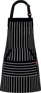 """ALIPOBO 6 Pcs Kitchen Cooking Aprons for Women and Men, Adjustable Chef Bib Apron with Pockets - 32"""" x 28"""" - Black/White Pinstripe"""