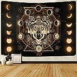 FEASRT GTLSAY269 Wandteppich, Motiv: Wolf und Mond, Traumfänger, Wandbehang für Wohnzimmer, Schlafzimmer, Wohnheim, Dekoration, 203 x 152 cm