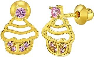 In Season Jewelry Tiges poussettes s/écurit/é /à vis Cupcake Boucles d/'oreilles Filles Plaqu/é or 18k /Émail Rose