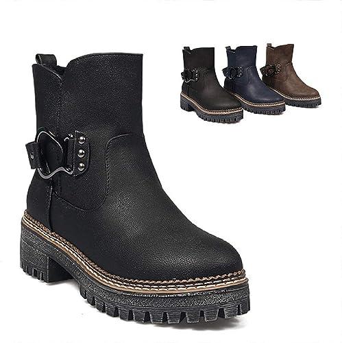 ZHRUI botas para mujer - Gruesas con botas de otoño e Invierno Cálido en la Hebilla del cinturón zapatos de algodón de Moda 34-43 (Color   negro, tamaño   41)
