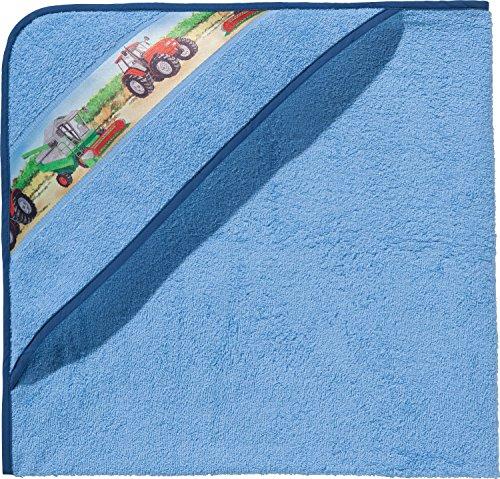 Erwin Müller Kinder-Kapuzenbadetuch, Kapuzenhandtuch Frottier hellblau Größe 140x140 cm - mit Webbordüre Traktor, Bauernhof, 100% Baumwolle (weitere Größen)