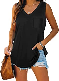 Muzboo Camiseta sin mangas para mujer, cuello en V, sin mangas, con bolsillo