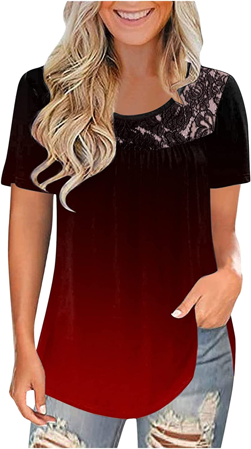 HOJICH Summer Tops for Women, Women's Lace Gradient Print O Neck T-Shirts Casual Short Sleeve Loose Blouse Tops Tunics