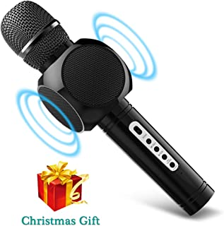 Karaoke Microphone Wireless, MODAR Handhold Karaoke Mic Portable Wireless Microphone Bluetooth 3.0, 3-in-1 Dual Speakers Built-in Chargeable Battery for Outdoor Home Party KTV Playing Singing Music, Gift for Fun