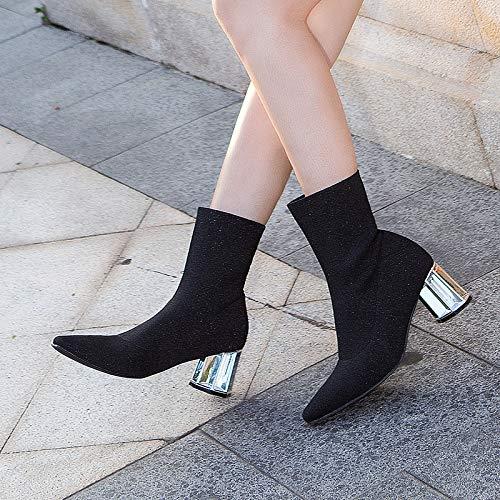 Shukun enkellaarsjes Sokken laarzen korte laarzen Women'S dunne laarzen dik met puntige laarzen in de buis