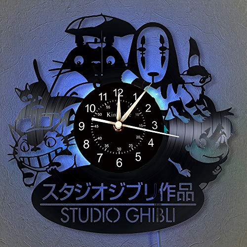 Studio Ghibli Anime Schallplatte Wanduhr LED Licht 12