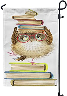 Ansote Animals Garden Flag 12x18 Inch Cute Cartoon Owl Watercolor Forest Bird School Books Book Weatherproof Garden Flag O...