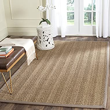 Safavieh Natural Fiber Collection NF115P Herringbone Natural and Grey Seagrass Area Rug (4' x 6')
