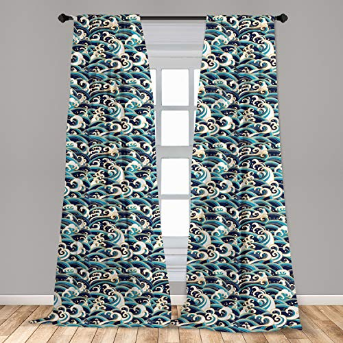 Ambesonne Nautical Window Curtains, Traditional Oriental Style Ocean Waves Pattern with Foam and Splashes Print, Lightweight Decorative Panels Set of 2 with Rod Pocket, 56' x 63', Blue Gold